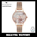 (OFFICIAL WARRANTY) Olivia Burton OB16CS06 Quartz Marble Floral Dial Rose Gold Tone Stainless Steel Mesh Strap Ladies Watch