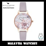 (OFFICIAL WARRANTY) Olivia Burton OB16CS14 Quartz Marble Floral Dial Rose Gold Case Grey Leather Strap Ladies Watch