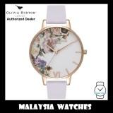 (OFFICIAL WARRANTY) Olivia Burton OB16EG110 Enchanted Garden Quartz Rose Gold-Tone Case Parma Violet Leather Strap Watch
