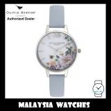 (OFFICIAL WARRANTY) Olivia Burton OB16EG114 Enchanted Garden Quartz Silver Tone Case Chalk Blue Leather Strap Watch