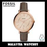 (OFFICIAL WARRANTY) Fossil Women's ES3707 Jacqueline Rose Gold Case Grey Leather Watch (2 Years International Warranty)