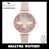 (OFFICIAL WARRANTY) Olivia Burton OB16EG134 Rose Gold Dial British Blooms Vegan 3D Bee Floral Dial Pinkish Grey Leather Strap Watch
