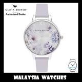 (OFFICIAL WARRANTY) Olivia Burton OB16EG137 Quartz Sunlight Florals Demi Silver-Tone Case Parma Violet Leather Strap Watch