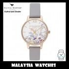 (OFFICIAL WARRANTY) Olivia Burton OB16EG150 Quartz Enchanted Garden Rose Gold-Tone Case Grey Lilac Leather Strap Watch