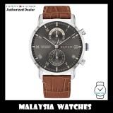 (100% Original) Tommy Hilfiger 1710398 Kane Quartz Multifunction Dark Grey Dial Brown Leather Strap Men's Watch (2 Years International Warranty)