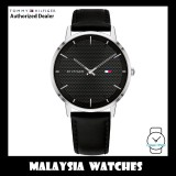 (100% Original) Tommy Hilfiger 1791651 James Quartz Analog Black Dial Black Leather Strap Men's Watch (2 Years International Warranty)