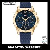 (100% Original) Tommy Hilfiger 1782198 Haven Quartz Blue Dial Gold Tone Case Blue Silicon Strap Women's Watch (2 Years International Warranty)