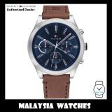 (100% Original) Tommy Hilfiger 1791741 Ashton Quartz Multifunction Blue Dial Stainless Steel Case Brown Leather Strap Men's Watch (2 Years International Warranty)