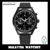 (100% Original) Tommy Hilfiger 1791731 Bennett Multifunction Black Dial Black Stainless Steel Case Black Leather Strap Men's Watch (2 Years International Warranty)