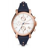 Fossil Women's ES3838 Original Boyfriend Chronograph Navy Leather Watch (Navy Blue & Rose Gold)