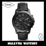(OFFICIAL WARRANTY) Fossil Men's FS5132 Grant Chronograph Black Case Black Leather Watch (Black)