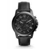 Fossil Men's FS5132 Grant Chronograph Black Case Black Leather Watch (Black)
