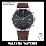 (100% Original) Tommy Hilfiger 1710416 Daniel Quartz Analog Grey Multi Function Dial Brown Leather Strap Men's Watch (2 Years International Warranty)