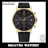 (100% Original) Tommy Hilfiger 1710417 Daniel Quartz Analog Black Dial Gold-Tone Case Black Leather Strap Men's Watch (2 Years International Warranty)