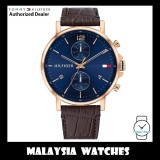 (100% Original) Tommy Hilfiger 1710418 Daniel Quartz Analog Blue Dial Rose Gold-Tone Case Brown Leather Strap Men's Watch (2 Years International Warranty)