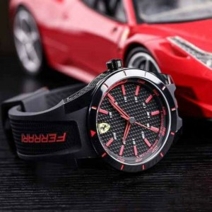 (100% Original) Scuderia Ferrari 0870017 RedRev Analog Quartz Black Resin Black / Red Silicone Strap Gift Set Watch (2 Years International Warranty)