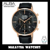 ALBA AT3H04X Quartz Analog Chronograph Black Dial Rose Gold-Tone Case Black Leather Strap Watch AT3H04 AT3H04X1 (from SEIKO Watch Corporation)