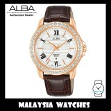 ALBA AH7V78X Quartz Analog Silver White Dial Swarovski Crystal Mineral Glass Brown Leather Strap Ladies Watch AH7V78 AH7V78X1 (from SEIKO Watch Corporation)