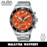 ALBA AM3803X Quartz Analog Chronograph Orange Dial Stainless Steel Case & Strap Men's Watch AM3803 AM3803X1 (from SEIKO Watch Corporation)