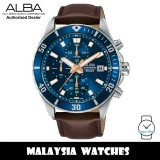 ALBA AM3813X Quartz Analog Chronograph Blue Dial Stainless Steel Case Brown Leather Strap Men's Watch AM3813 AM3813X1 (from SEIKO Watch Corporation)