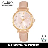 ALBA AH7W02X Quartz Analog Light Pink Floral Dial Stainless Steel Case Pink Leather Strap Ladies Watch AH7W02 AH7W02X1 (from SEIKO Watch Corporation)