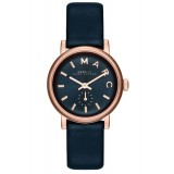 MARC BY MARC JACOBS MBM1331 Mini Baker Blue Dial Blue Leather Strap Ladies Watch (Blue & Rose Gold)