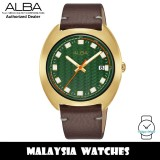 ALBA AS9K88X Fusion Quartz Analog Green Dial Gold-Tone Stainless Steel Case Brown Leather Strap Men's Watch AS9K88 AS9K88X1 (from SEIKO Watch Corporation)