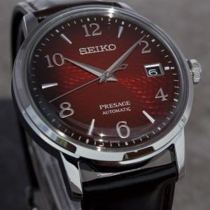 Seiko Presage SRPE41J1 Cocktail Time Made in Japan Automatic Red Dial Negroni Brown Leather Strap Watch