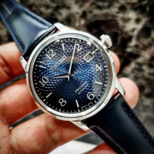 Seiko Presage SRPE43J1 Cocktail Time Made in Japan Automatic Blue Dial Manhattan Blue Leather Strap Watch SARY165