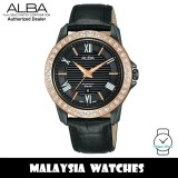 ALBA AH7V76X Quartz Swarovski Crystal Black Dial Rose Gold-Tone Stainless Steel Case Black Leather Watch AH7V76 AH7V76X1 (from SEIKO Watch Corporation)