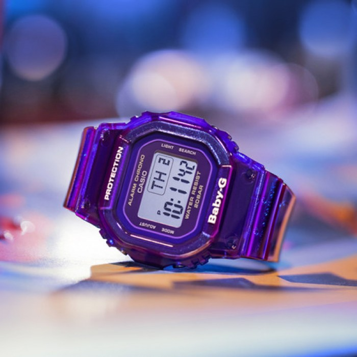 OFFICIAL WARRANTY) Casio Baby-G BGD-560S-6 Digital Purple Semi Transparent  Resin Watch BGD-560