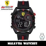 (100% Original) Scuderia Ferrari 0830743 Forza Black Digital Dial Black Silicone Strap Men's Watch (2 Years International Warranty)