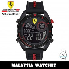 (100% Original) Scuderia Ferrari 0830743 Forza Black Digital Dial Black Silicone Strap Men's Watch (2 Years International Warranty)