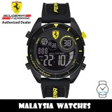 (100% Original) Scuderia Ferrari 0830744 Forza Black Digital Dial Black Silicone Strap Men's Watch (2 Years International Warranty)