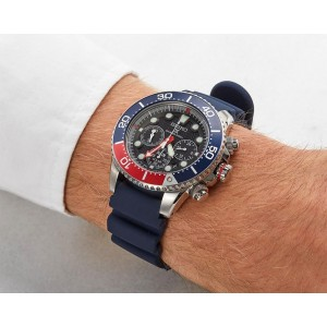 Seiko SSC663P1 Prospex PADI Solar Power Divers 200M Chronograph Black Dial Blue Silicone Strap Men's Watch