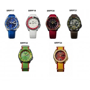 Seiko 5 Sports STREET FIGHTER V Limited Edition Full Set for Six Automatic Watch SRPF17K1 / SRPF19K1 / SRPF20K1 / SRPF21K1 / SRPF23K1/ SRPF24K1