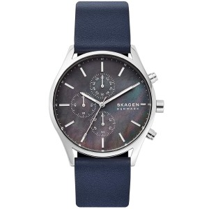 (100% Original) Skagen SKW6653 Holst Quartz Chronograph Mother of Pearl Dial Blue Leather Strap Men's Watch