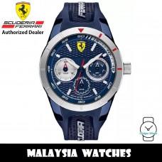 (100% Original) Scuderia Ferrari 0830436 Red Rev T Multi Function Silver Bezel Blue Dial Rubber Men's Watch (2 Years International Warranty)