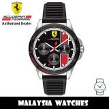 (100% Original) Scuderia Ferrari Pilota 0830661 Multi Function Black Dial Black Ribbed Silicone Strap Watch (2 Years International Warranty)