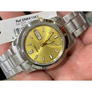 Seiko 5 SNKK13K1 Automatic See-thru Back Gold Dial Silver-Tone Stainless Steel Men's Watch