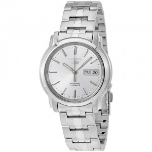 Seiko 5 SNKK65K1 Automatic See-thru Back Silver Dial Silver-Tone Stainless Steel Men's Watch