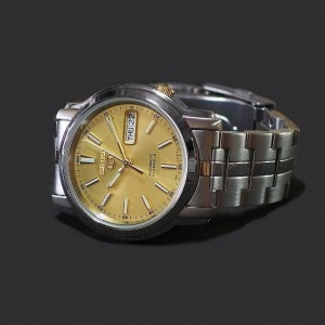 Seiko 5 SNKL81K1 Automatic See-thru Back Gold Dial Silver-Tone Stainless Steel Men's Watch