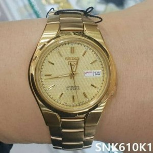 Seiko 5 SNK610K1 Automatic See-thru Back Gold-Tone Dial Stainless Steel Men's Watch