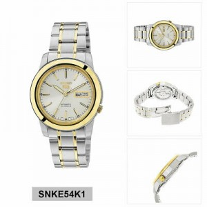 Seiko 5 SNKE54K1 Automatic See-thru Back Silver Dial Gold Case Two-Tone Stainless Steel Strap Men's Watch