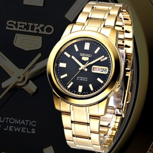 Seiko 5 SNKK22K1 Automatic See-thru Back Black Dial Gold-Tone Stainless Steel Men's Watch
