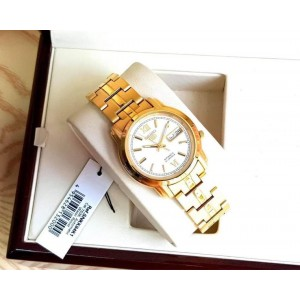 Seiko 5 SNKK84K1 Automatic See-thru Back White Dial Gold-Tone Stainless Steel Men's Watch