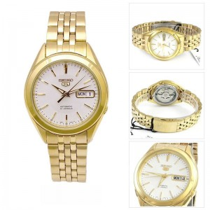 Seiko 5 SNKL26K1 Automatic See-thru Back Silver White Dial Gold-Tone Stainless Steel Men's Watch