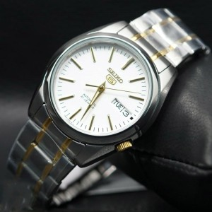 Seiko 5 SNKL47K1 Automatic See-thru Back White Dial Two-Tone Stainless Steel Men's Watch