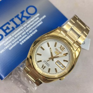 Seiko 5 SNKL58K1 Automatic See-thru Back Silver White Dial Gold-Tone Stainless Steel Men's Watch