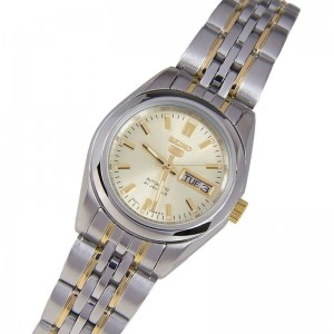 Seiko 5 SYMA37K1 Automatic Champagne Gold Dial Hardlex Crystal Glass Two-Tone Stainless Steel Women's Watch